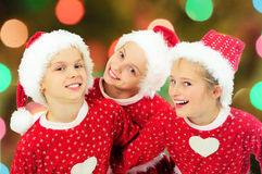 Funny christmas girls Stock Photography