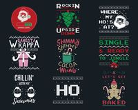 Free Funny Christmas Graphic Prints Set, T Shirt Designs For Ugly Sweater Xmas Party. Holiday Decor With Xmas Tree, Santa Stock Photography - 163094622