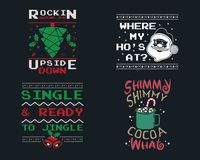 Free Funny Christmas Graphic Prints Set, T Shirt Designs For Ugly Sweater Xmas Party. Holiday Decor With Xmas Tree, Santa Royalty Free Stock Images - 163095669