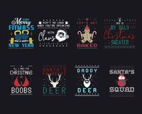 Free Funny Christmas Graphic Prints Set, T Shirt Designs For Ugly Sweater Xmas Party. Holiday Decor With Xmas Tree, Santa Royalty Free Stock Photography - 168453087