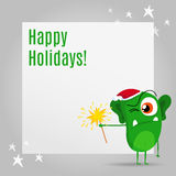 Funny Christmas greeting card design with cute grumpy monster Stock Images