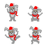 Funny christmas hares on a white background Stock Photography