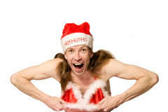 Funny christmas man doing stri Stock Image