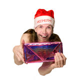 Funny christmas man presenting Royalty Free Stock Image