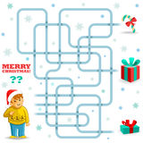 Funny Christmas maze game. The boy needs to choose the gift the boy needs to choose the gift royalty free illustration
