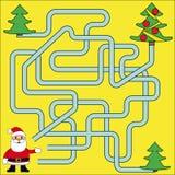 Funny Christmas Maze Game: Santa Claus. New Year Vector Illustration royalty free illustration