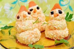 Funny Christmas meal for kids. Three eatable snowman figures. Funny Christmas meal for kids Stock Image