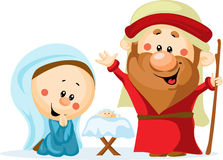 Funny Christmas nativity scene. With holy family - Christmas crib, baby Jesus, virgin Mary and Joseph (cute vector illustration Royalty Free Stock Photos