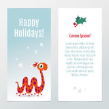 Funny Christmas and New Year holiday banner, vertical flyer temp Stock Photos