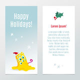 Funny Christmas and New Year holiday banners Royalty Free Stock Image