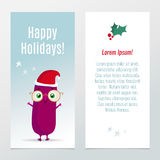 Funny Christmas and New Year holiday banners Stock Photos