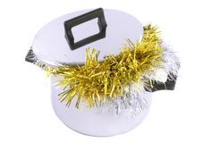 Funny Christmas,New Year-tinsel in saucepan Royalty Free Stock Photos