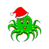 A funny Christmas octopus isolated on a white back Royalty Free Stock Images