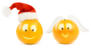 Funny Christmas Oranges Royalty Free Stock Images