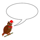 A funny Christmas owl with a speech bubble Royalty Free Stock Images