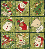 Funny Christmas patchwork elements. Vector seamless pattern in custom colors royalty free illustration