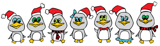 Funny christmas penguins. Seven funny cute christmas penguins Stock Photography