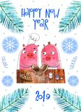 Funny Christmas pigs, Greeting cards Merry Christmas and New Year 2019. Pig Santa Claus, Christmas cards royalty free illustration