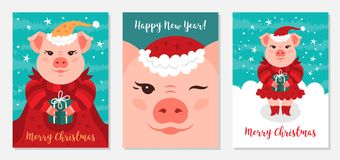 Funny Christmas pigs, Greeting cards Merry Christmas and New Year 2019. Pig Santa Claus, Collection of Christmas cards. Vector illustration EPS 10 royalty free illustration