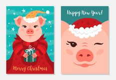 Funny Christmas pigs, Greeting cards Merry Christmas and New Year 2019. Vector illustration. EPS 10 stock illustration
