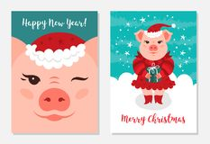 Funny Christmas pigs, Greeting cards Merry Christmas and New Year 2019. Cute pig wink. A pink pig in a Santa Claus hat. Holds a gift, a turquoise background stock illustration