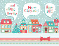 Funny Christmas postcard. Royalty Free Stock Photo