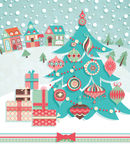 Funny Christmas postcard. With fir tree. Vector illustration Stock Image