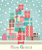 Funny Christmas postcard. With pile of gifts. Vector illustration Royalty Free Stock Photography