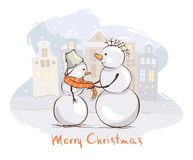 Funny Christmas postcards. Caring mother snowman, She ties a scarf to her son, vector illustration stock illustration