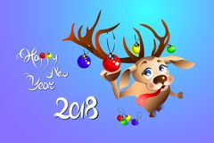 Funny Christmas reindeer adorns herself with balls. Happy new year 2018 Royalty Free Stock Image
