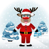 Funny Christmas Reindeer. Funny Christmas card with a reindeer. Christmas Reindeer catches snowflakes tongue. Vector illustration Royalty Free Stock Photos