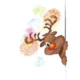 Funny christmas reindeer vector illustration