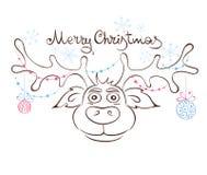 Funny Christmas Reindeer Stock Photography