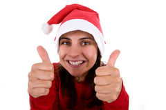Funny christmas santa woman with thumbs up Royalty Free Stock Photos