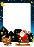 The funny christmas scene- santa claus riding through the city and dropping presents Stock Photo