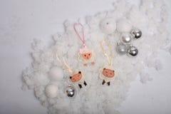 Funny Christmas sheep and balls Royalty Free Stock Photos