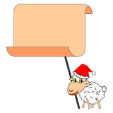 A funny Christmas sheep with a big blank paper Stock Photos