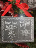 Funny Christmas signs to Santa Take Sister. Funny Christmas sign / post card to Santa on Christmas tree: Dear Santa leave presents take sister royalty free stock photos