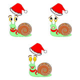 Funny Christmas snails with different facial expressions. Vector-art illustration Royalty Free Stock Photos