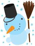 Funny Christmas Snowman Character Royalty Free Stock Photo