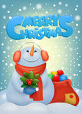 Funny christmas snowman in ear muffs. Invitation card template Stock Image