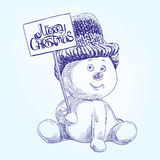 Funny christmas snowman. Hand drawn vector realistic  sketch Royalty Free Stock Image