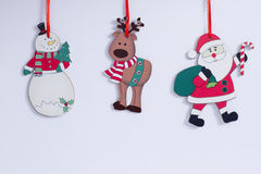 Funny Christmas snowman, reindeer, Santa Claus Royalty Free Stock Images