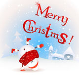 funny Christmas Snowman standing Upside down. Merry Christmas! Vintage Christmas Greeting Card. Royalty Free Stock Image