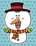 Funny  Christmas Snowman. Royalty Free Stock Photography