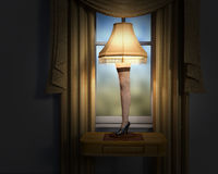 Funny Christmas Story Leg Lamp. Funny leg lamp right just like in the Christmas Story movie. Ugly furniture at its best stock photography