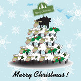 Funny Christmas tree. Abstract colorful background with Christmas tree made from sheep, and on the top a black sheep with a green Christmas plate. Christmas tree Royalty Free Stock Images