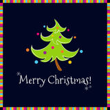 Funny christmas tree black background. Funny dancing decorated christmas tree on a black background Royalty Free Stock Images