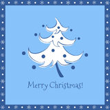 Funny christmas tree blue greeting card Stock Photography
