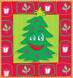 Funny christmas tree card Stock Photo